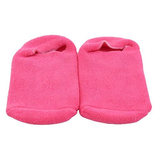 Weisin Spa Hydratant Chaussettes Set Moisture Open Toe Gel Heel Socks Hand Fingerless for Cracked Dry Skin,Rose Rouge