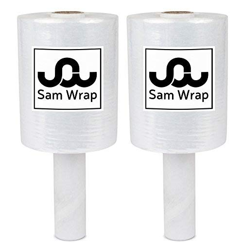 Sam Wrap (R) Stretch Wrap 5' x 1000' Roll, 80 Gauge Extra Thick Durable Self-Adhering Plastic Wrap for Moving, Packing Wrap Industrial Strength, Clear Plastic Pallet Shrink (2 Roll)