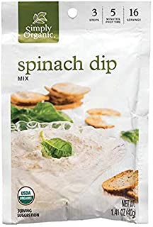 Simply Organic Organic Dip Mixes Spinach Dip Mix Certified Organic, 1.41-Ounce Packets (Pack of 12)