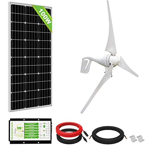 ECO-WORTHY 500WKit de energía eólica solar: Turbina de viento de 400 W Panel solar de 100 W fuera de la red Carga de batería de 12 voltios