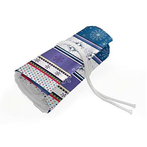 ABAKUHAUS A strisce Trousse à Crayon Enroulable, Dots e snoflakes, Organisateur de Crayon Durable & Portatif, 72 Trous, Multicolore