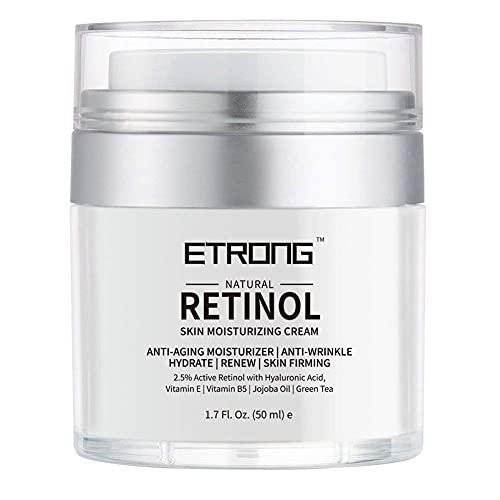 Retinol Creme, ETRONG Feuchtigkeitscreme Gesicht, Gesichtscreme Damen Männer, Mit 2.5% Retinol 50 ml Anti-Aging-Falten Nachtcreme Mit Hyaluronsäure, Vitamin E und Jojobaöl...