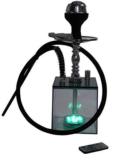 Acrylic Hookah Shisha Pipe Set Complete Kit with Heat Management System, Silicone Bowl, Washable Silicone Hose, Ashtray Holder, Tongs, LED Light and Remote Controller (Cube Hookah)