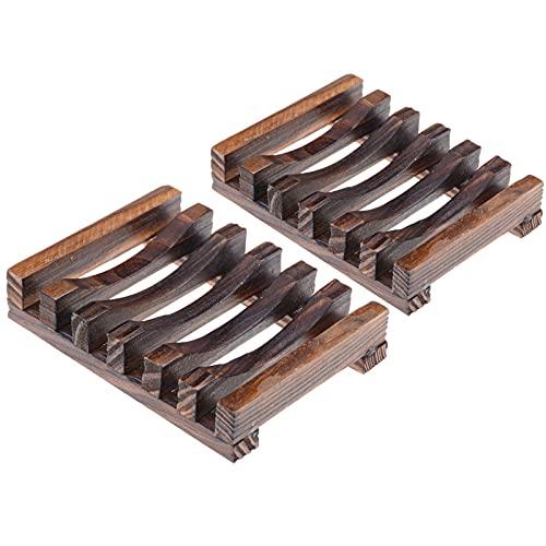 Ealicere Seifenschalen 2 Stück, Natürliche hölzerne Bambus Seifenschale Holz,Handarbeit Seifenhalter Halter Bad Waschbecken Deck Seifenhalterung