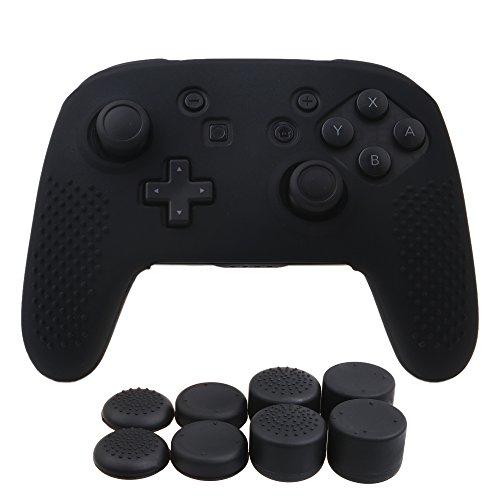 YoRHa Tachonado Silicona Caso Piel Fundas Protectores Cubierta para Nintendo Switch Pro Mando x 1 (Negro) con Pro los puños Pulgar Thumb gripsx 8