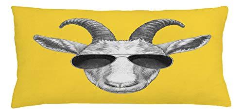 ABAKUHAUS Gafas de Sol Funda para Almohada, Gris Dibujado Mano de Cabra, Colores Perdurables Tela Lavable, 90 x 40 cm, Mostaza Gris Oscuro