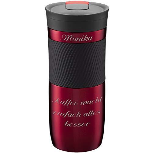 Contigo Thermobecher Byron Red 470 ml mit persönlicher Rund-Gravur gelasert Silikon-Manschette praktischer Snapseal-Verschluss auslaufsicher rot