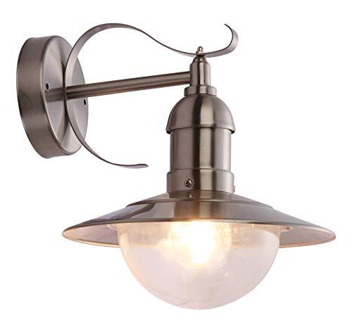 globo Auen Leuchte Garten Lampe Terrassen Beleuchtung Polycarbonat IP44 Hof Licht Mixed 3270, Edelstahl, Silber