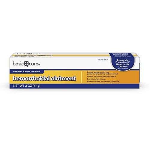 Amazon Basic Care Hemorrhoidal Ointment, Phenylephrine HCl, Petrolatum, Mineral oil, Relief from Burning, Itching and Discomfort of Hemorrhoids, 2 Ounces