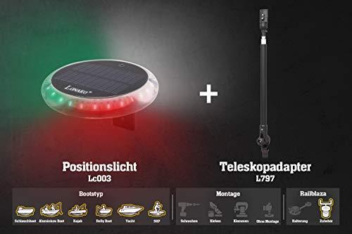 Railblaza Set: Positionslicht LED 3 Farben + Teleskopverlängerung (570-1170mm), Akku Solar