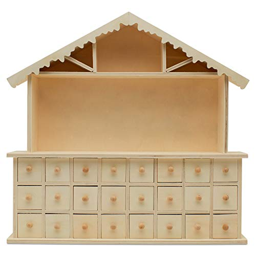 Woodpeckers Wooden Advent Calendar Empty DIY-Pre Assembled Empty Drawers Refillable Unfinished 15 x 14-1/4 Inch