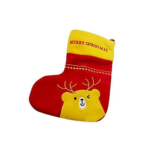 Bande Dessinée Jaune Elk Chaque Bas De Noël Mini Père Noël Arbre De Noël Suspendu Bonbons Cadeau Sac Arbre De Noël Décoration 49X23Cm