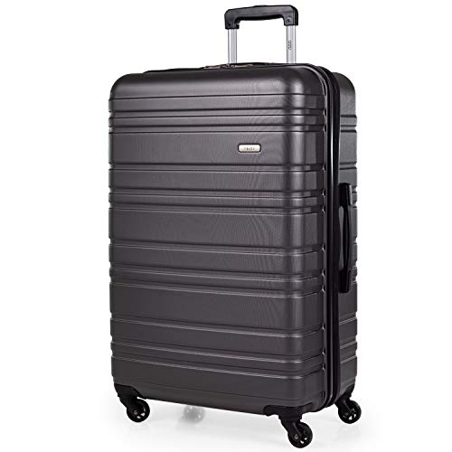 ABS Hard Shell 30 Inch Suitcase - Travel Luggage by A2B with 4 Spinner Wheels   Telescopic Drag Handle   Hard Sided Suitcases Weighing 4.3.g Cap 96L Height 76.5cm (Grey, Large)