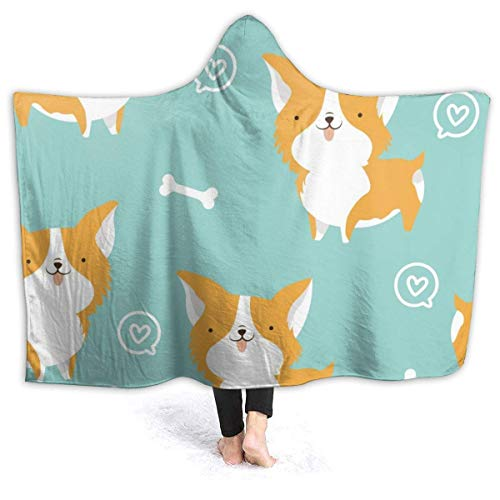 chenjian Corgi Dog Plush Portable Hooded Blanket Portable Sherpa Fleece Blanket with Hood for Children and Adults