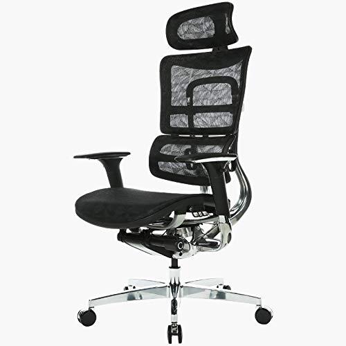 Silla para computadora, silla ergonómica para oficina, silla giratoria reclinable, anticorrosión, cómoda y transpirable, negro