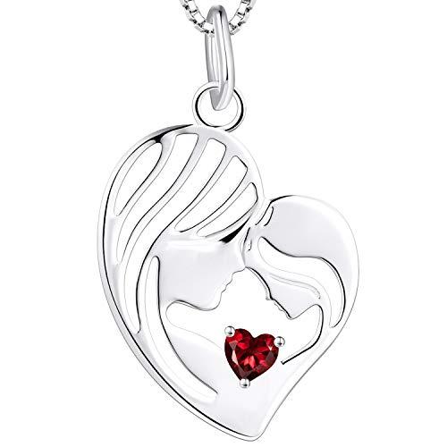 YL Madre e hija Collar de plata de ley 925 Granate Corazón Colgante Collar Regalos para mujeres mamá, 45-48 CM