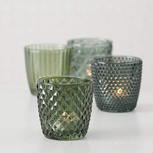 Windlicht Glas grün Teelichthalter 4er Set