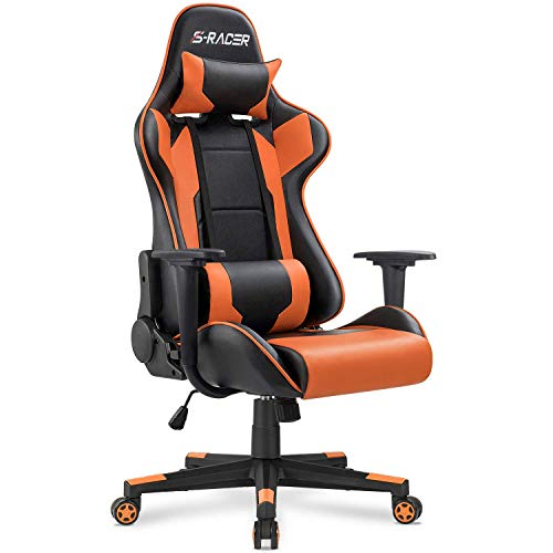 Homall Gaming Chair Office Chair High Back Computer Chair PU Leather Desk Chair PC Racing Executive Ergonomic Adjustable Swivel Task Chair with Headrest and Lumbar Support (Orange)