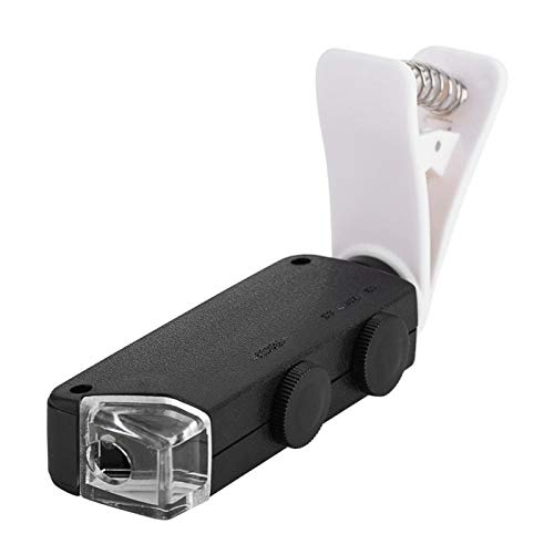 Emoshayoga 60X-100X Microscope Len with Clip for Mobile Phone with LED Light