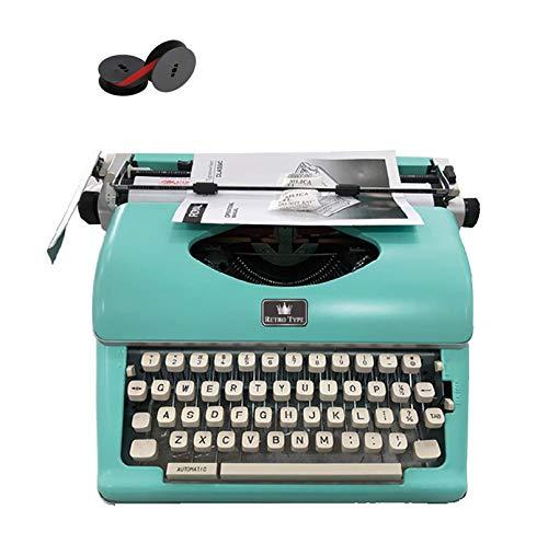 Vintage Schreibmaschine, Retro Mechanische Schreibmaschine mit 2 zusätzlichen Ersatzbandsätzen (Grün)
