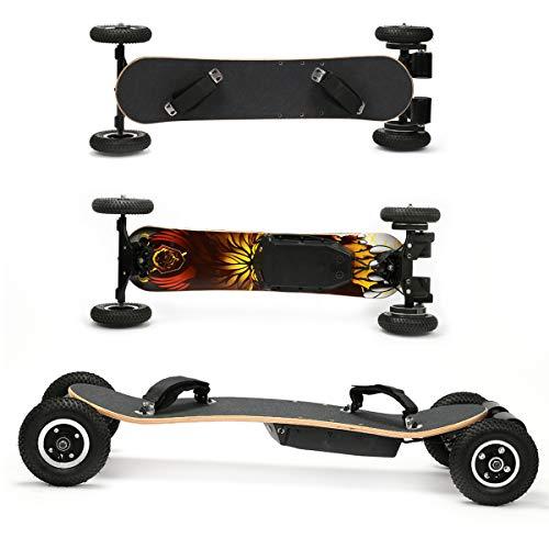 ACC Elektrisches Skateboard, elektrisches Offroad-Longboard mit drahtloser Fernbedienung 2x1650W Allradantrieb Elektrisches Skateboard 40 mph Geschwindigkeit 300 lbs Max. Zuladung