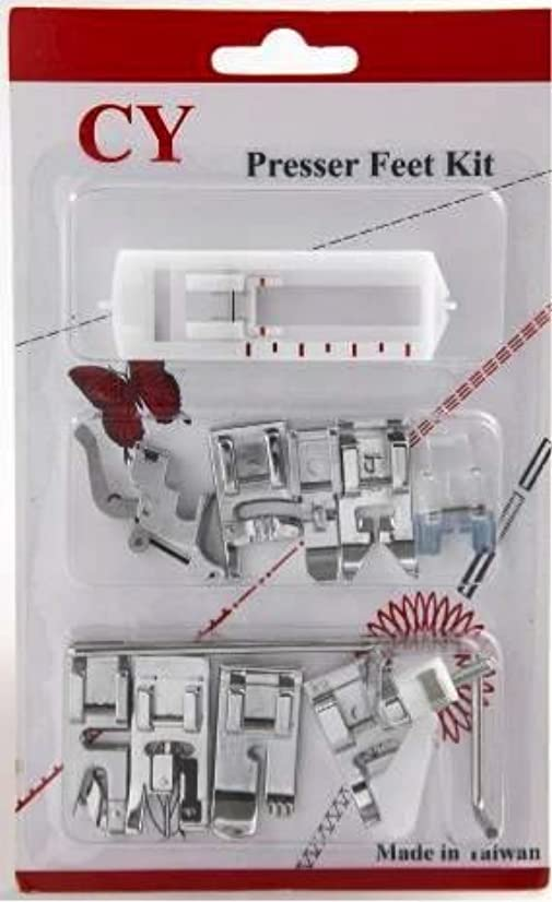 Austin Toyota Compatible Sewing Machine Presser Foot Set, Metal, Silver, 17 x 10.5 x 1.9 cm