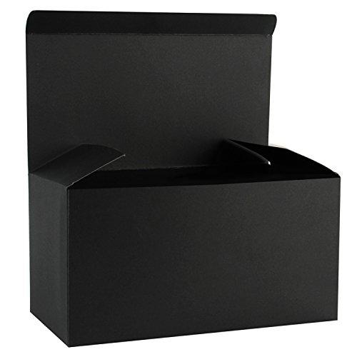 RUSPEPA Cajas De Regalo De Cartón Reciclado - Caja Decorativa Grande con Tapas para Navidad, Cumpleaños, Días Festivos, Bodas - 30.5X15.5X15.5 Cm - Paquete De 10 - Negro