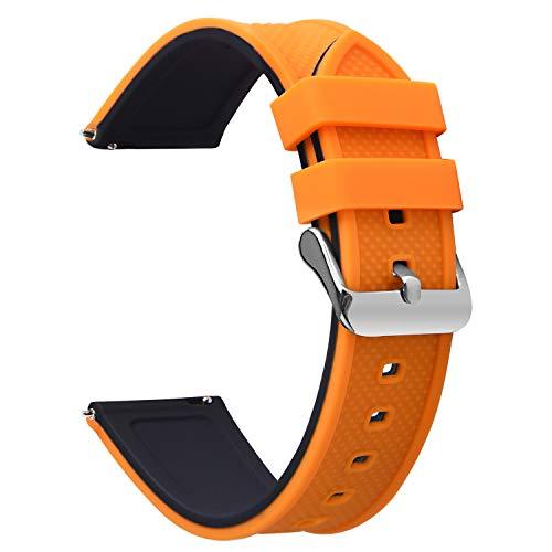 Fullmosa Silikon Uhrenarmband 20mm mit Schnellverschluss in 8 Farben, Regenbogen Weich Silikon Uhrenarmband mit Edelstahlschnalle,20mm Kürbisorange+schwarz