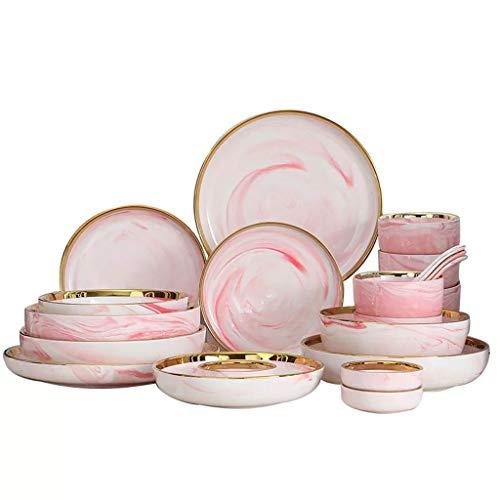 NXYJD 9/18 / 26 Piezas de mármol Europeo Luz de Lujo de Lujo Platos de Cuenco de Lujo en casa Creativo arroz Cuenco Profundos Platos de Sopa vajilla (Size : 9-Piece Set)