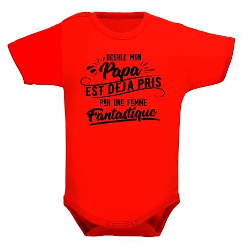 bebe-abord.com Body manches courtes. Bodies enfant. Fille et garçon. Message marrant. Humour. Papa et maman. Cadeau de naissance - Rouge, 3-6 mois