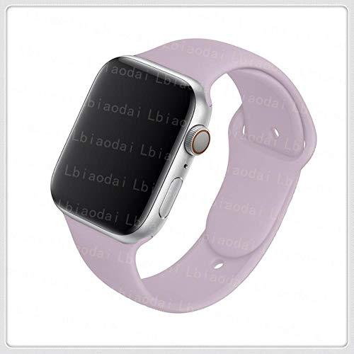 Cinturino in Silicone per Cinturino Apple Watch 44 Mm 38 Mm Cinturino Sportivo in Gomma da Polso per Cinturino Serie Iwatch 6 5 4 3 2 1 Se 42 Mm 40 Mm, Lavanda, 42 O 44 Mm Ml