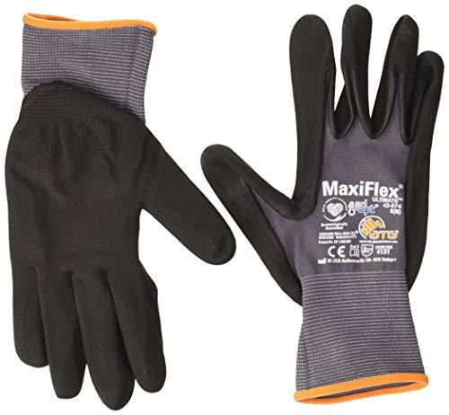 ATG 42-874 - Guanto MaxiFlex Ultimate con tecnologia Ad-Apt, colore: grigio/nero, taglia 8