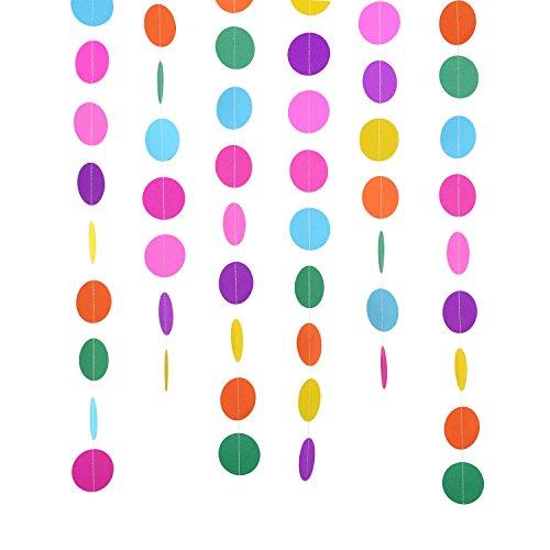 Outus 2 Packung 4 Meter Runde Papier Girlande Kreis Punkte Hängend Dekorationen für Geburtstag Hochzeit Party