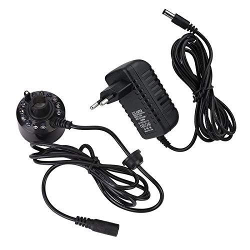 XiangXin Atomizzatore ad ultrasuoni per Acquario con 12 LED Light Black Mist Maker, generatore di Nebbia ad ultrasuoni,(110~240V, European Standard)