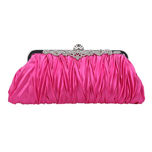 Fawziya Satin Pleated Clutch Purses For Women Evening Clutches For Wedding And Party-Fuchsia