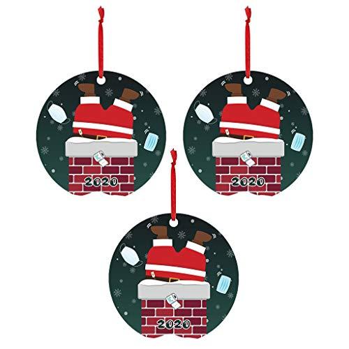 Mirlise 3PCS Cute Santa Claus Wearing_mask Decoration Christmas Tree Ornaments 2020 Christmas Holiday Souvenir