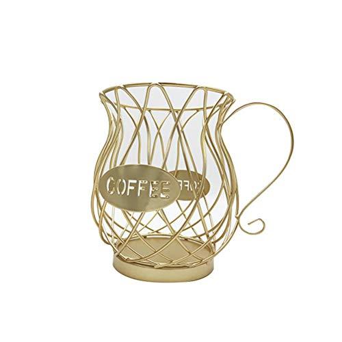 Hosuho - Cestino per cialde da caffè, 17,5 x 9,5 x 14,5 cm, in metallo a forma di tazza di caffè, porta capsule dorate, multifunzione, per zucchero, biscotti e frutta