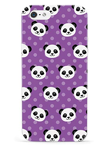 Inspired Cases - 3D Textured iPhone 5/5s/5SE Case - Rubber Bumper Cover - Protective Phone Case for Apple iPhone 5/5s/5SE - Cute Panda Pattern - Purple Polka Dots