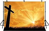 HD 10x7ft木製の十字架の背景イエスの誕生のための黄金の太陽の光信者の復活祈る背景LYZY0664