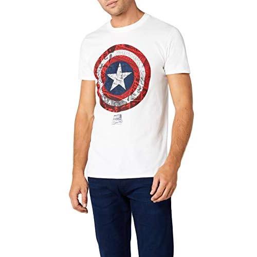 Marvel Ca Comic Shield T-Shirt, Bianco, L Uomo