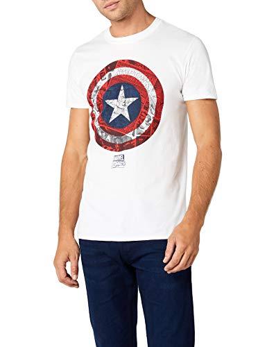 Marvel Ca Comic Shield Camiseta, Blanco, L para Hombre