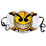Mundschutz Evil Smiley Hip Hop Face Cover, Roleplaying Japanese Anime Cartoon Style Face Cover, Washable and Reusable Mouth Cover