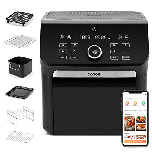 COSORI Smart Air Fryer, 14-in-1 Large Air Fryer Oven XL 7QT with 7 Accessories for Pizza Toast Dehydrate Bake, 12 Presets, Preheat, Shake Reminder & Keep Warm, Works with Alexa, 1800W, 7QT, Black