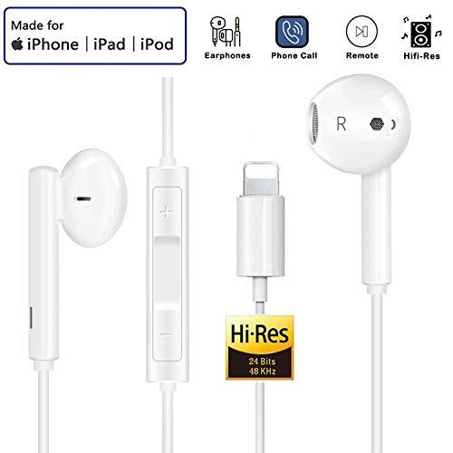 Auriculares para iPhone 11 Auriculares con Cable Auriculares Proporcionan Control de micrófono y Volumen Compatible con iPhone 11/11Pro/Max/XS/Max/XR/X/8/Plus/7 para iOS 11/12/13(Blanco)