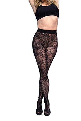 Curvation Women's Plus Size Figure Enhancing Blossom Tights, Black, curvaceous 3 (C3)