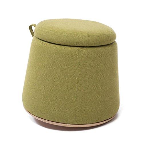 Kruk Premium kwaliteit, comfortabele kruk met deksel, opbergdoos, rond, kruk, schoenwissel, kruk, smalle afmetingen, gevoerde voetenbank, stof van linnen, zitting, cosmeticakruk voor Ha