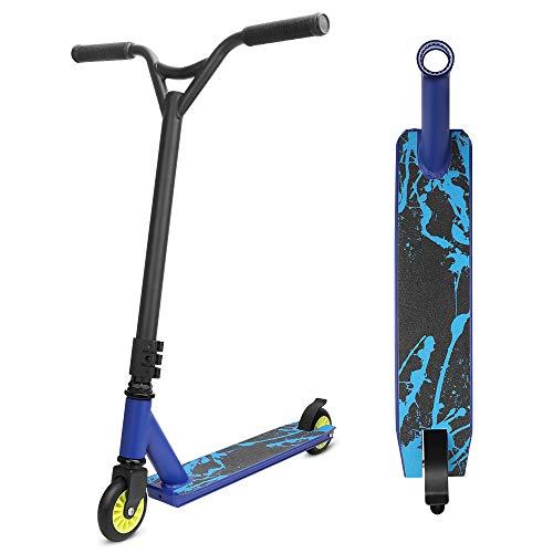 YOLEO Stunt Scooter Freestyle Tretroller Pro Scooter Kickscooter Roller für Kinder und Erwachsene Tragfähigkeit: 100 kg ABEC 7 Steel Y Lenker (Blau)