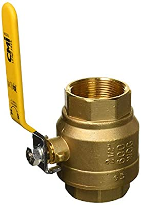 "2-1/2"" Brass Ball Valve Threaded - IPS Full Port Irrigation Water Valves - Mechanical Lead Free Lever Handle 2 1/2-Inch Female Thread Inline Steam Oil 600 WOG Supplies Hot Cold Pipes CSA ApprovedF by CMI Inc"