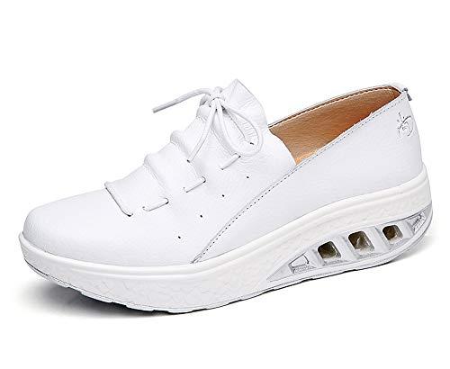 lovejin Mujer Adelgazar Zapatos Sneakers Deporte Cuña Zapatos Plataforma Sneakers Caminar Fitness Transpirable Deportes al Aire Libre Zapatos