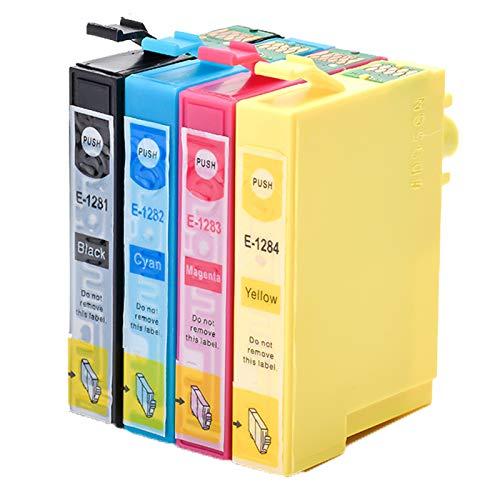 Caidi - Cartuchos de tinta compatibles con Epson T1281 T1282 T1283 T1284 para Epson Stylus SX235W SX445W SX425W SX130 SX230 SX420W SX125 (1 negro, 1 cian, 1 magenta y 1 amarillo)